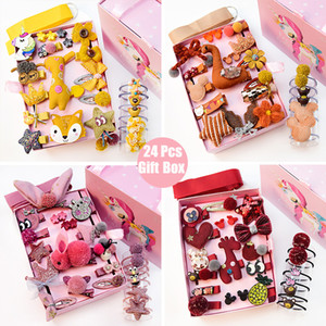 24pcs / Gift Unicorn Pattern Клип Box Set Дети девушки диапазона волос Мультфильм животных Hairclips Дети Симпатичный кролик Шпильки оптом