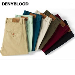 Оптовая продажа-Denyblood Jeans Mens Slim Straight Chino Pants dark Wash Mens Slim Chinos повседневные брюки черный, армейский зеленый, хаки 7 цветов 5011