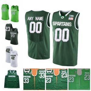 Обычай Мичиган Штат Спартанцы Баскетбол Белый Зеленый Любое Имя Номер 1 Джошуа Лэнгфорд 5 Кассиус Уинстон 2019 Финал Четыре МГУ Ретро Трикотажные изделия