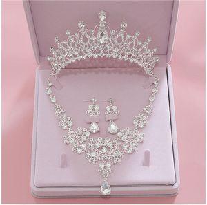 Bling Bling Collar joyería Pendientes Conjunto Coronas de aleación de cristal con lentejuelas accesorios nupciales tiaras de la boda tocados de pelo