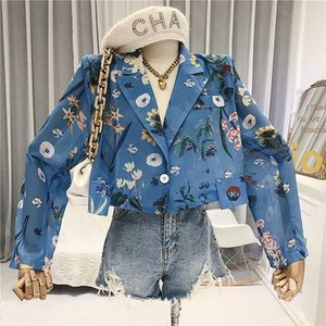 Chiffon Imprimir Prairie Chic Cortar Tops Verão 2020 Blusas De Mujer Largos Sueltos Moda Mujer Ropa Camisas estampadas De