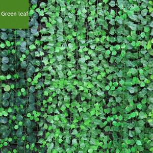 12 개 / 몫 200 센치 메터 인공 썩은 바 레스토랑 장식 인공 식물 등반 덩굴 녹색 잎 아이비 홈 장식 식물