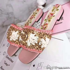 zapatillas zapatos del diseñador de la flor de ganchillo rafia sandalia de lujo de las nuevas mujeres calientes de las mujeres del tamaño de la calidad superior de la manera informal 35-42 con la caja