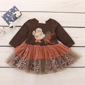 Yeni tasarım Sonbahar butik bebek elbise Şükran çocuklar elbise Türkiye nakış uzun kollu tül Pileli Elbise