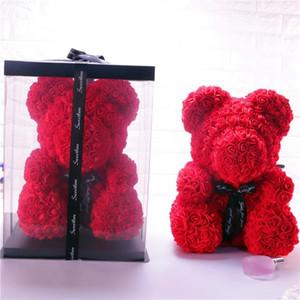 12 стили 40 см Роза медведь Валентина и рождественский подарок сохранились свежий цветок романтика искусственные розы игрушка цветок женщин подарок цветок медведь