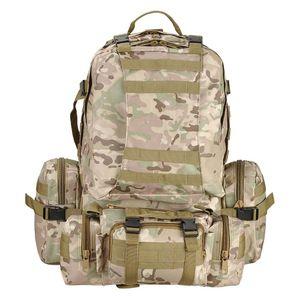 50-70L Mochila de alpinismo táctico con 3 bolsas de cintura MOLLE Paquete de mochilas de asalto de 3 días para el combate de supervivencia al aire libre Senderismo