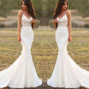 2020 Land Mermaid Brautkleider Spaghetti Backless Sweep Zug Appliques Illusion Mieder Long Beach Garden Country Brautkleider
