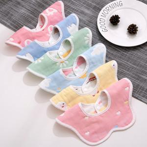 2020 weichen Babylätzchen Cotton Cartoon-Tuch-Lätzchen Speichel-Tuch Rotating Baby-Babador Füttern Smock Infant Spucktücher Bandana Lätzchen