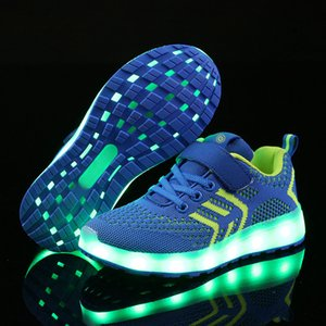 Warm Like Home 2018 New 25-37 Chargeur USB rougeoyant Sneakers Led Enfants Éclairage Chaussures Chaussures Garçons / Filles Lumineux Lumineux Sneaker Y190523