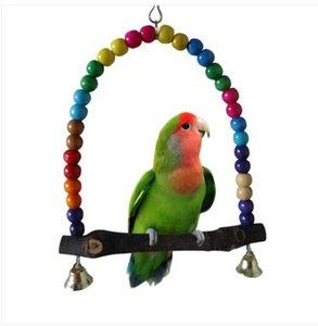 Envío gratis ventas al por mayor 2019 Parrot Swing Pet Toy Colorful Bird perico Budgie Lovebird madera