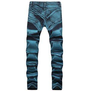 Bleu Hommes Jeans Crayon Lavé Zipper Fly Designer Pantalon taille mi Homme longues Mode Hemme Jeans