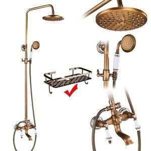 Antique Brass Duscharmaturen Set Regendusche Handbrause Commodity Shelf Zweigriff-Mischbatterie Schwenkbarer Wanneneinlauf Badewanne Dusche