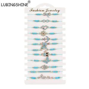 heap Chain & Link Bracelets LUBINGSHINE Boho Bracelets Charm Bangles Blue Stone Anchor Heart Heart Butterfly LOVE Infinity Bracelet Adjus...