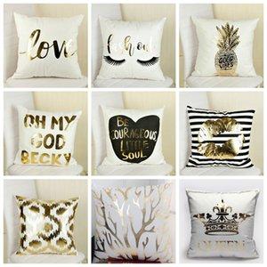 Franela bronceado funda de almohada Heart Letter impresión fundas de almohada cojines del sofá cubierta del coche almohada Decoración 17 estilos YW453