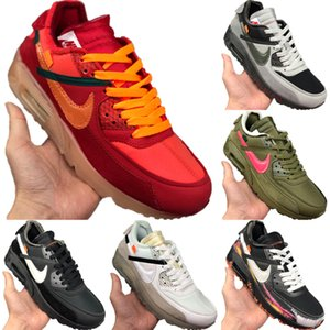With Box 2020 Zoom90 Leather and Mesh Breathable Running Shoes Zoom90 Buffer Rubber Built-in Zoom Air Cushioning Sports Shoes