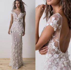 2019 New Sexy Dimitrius Dalia Mermaid Wedding Dresses Sheer Bateau Neck Backless Wedding Gowns Appliqued Robe de mariée Simple Bridal Dress