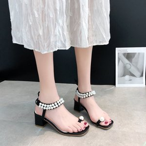 Summer Women Elegant Pearl Shoes Brand Girls Beach Ankle Strap Thick Heel Sandals Designer Outdoor Open Toe Med Heel Shoes 5518