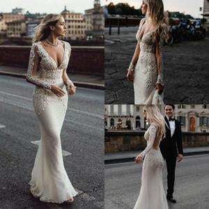 Elegant Mermaid Wedding Dresses Deep V Neck Lace Applique Robes De Mariée Sweep Train Custom Made Country Wedding Dress Long Sleeve