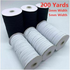 200yards roll black and white elastic bands wide 3mm 5mm flat elastic rope for face mask clothing diy sewing accessories