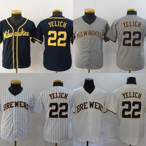 Gioventù Milwaukee 22 Christian Yelich Jersey bambini tutto il baseball cucito pullover poco costoso Crema Bianco Grigio Navy trasporto veloce