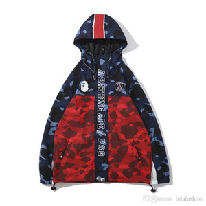 Lover Rosso Blu Splice Camo poliestere con cappuccio Giacca a vento con cappuccio delle donne degli uomini del cardigan sottile cappuccio Giacche Taglie M-2XL