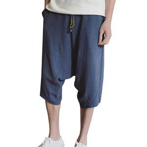 Pantaloni Harem Pantaloni larghi in lino in cotone Pantaloni in lino Pantaloni basso in lino Pantaloni larghi in lino Harem