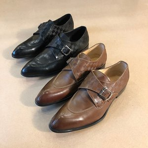 2019 top craft fashion men's leather shoes leather fabric handmade shoes holiday banquet dress shoes original box shipping code 38-44