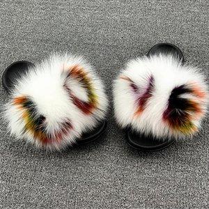 Kadınlar Yaz Güzel Rakun Kürk Slaytlar Peluş Kapalı Kabarık Kürk Terlik Karışık Renkli Fox Kürk Flop'lar Kadınlar Sevimli Moda Ayakkabı çevirin Y200706