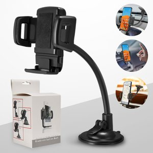 Pare-brise de support de téléphone universel pour voiture pour Samsung Note 10 GPS PDA pince à bras long avec porte-téléphone à ventouse forte avec boîte