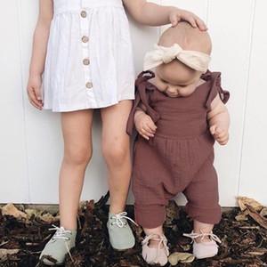 Le plus récent Bébés filles salopettes Pantalons enfants filles Barboteuses pantalon gris Tenues tout-petits solides manches ceinture Bébés filles garçons Salopette Salopette