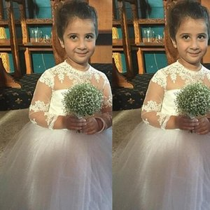 Flower Girl Dresses para Casamento branco do laço Applique vestidos da menina encantadora Little Kids Primeira Comunhão Tulle Partido Vestido