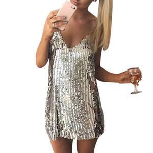 어깨 소형 복장 짧은 크리스마스 파티 클럽 결박 복장 Vestidos 떨어져 깊은 V 목은 Sequined Backless 섹시한 복장 여자