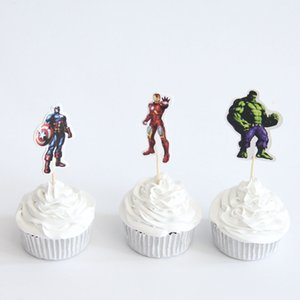 24Pcs Superhero Captain American Iron Man The Avengers Cupcake Toppers Pick Baby Shower Kids Birthday Party Supplies Cake Topper Other Event