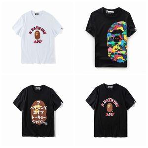 19ssBape 남성 디자이너 t 셔츠 입욕 원숭이 흰색 t- 셔츠면 원숭이 인쇄 스포츠 떨어져 무패 전쟁 여름 셔츠 남성 티셔츠입니다