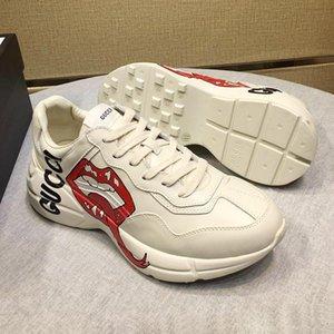 2019 Mode Schuhe der Männer mit ursprünglichem Kasten Chaussures hommes Mode Typ Herren Schuhe Casual Luxury Rhyton Leder Sneaker Scarpe da gießen uomo