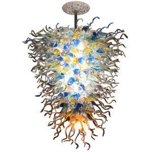 Vintage Murano Cam Avize Aydınlatma Turuncu Mavi Renkli Blooming Ağız Salon Cam Pendnant Lambası Üflemeli