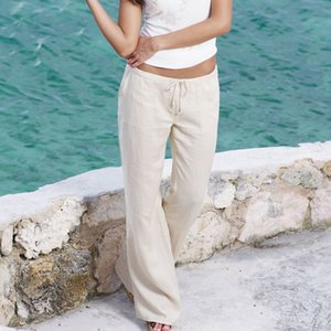 Конструктор Sweatpants повседневные брюки лето женщин хлопок Flared Сыпучие Wide Leg Pants Elegant Palazzo Holiday Beach Днища Chino Cargo