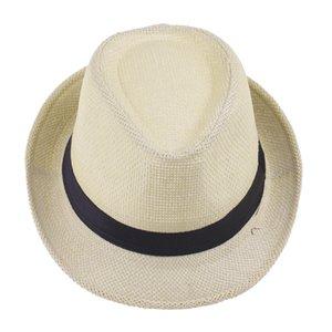 6 PCS / Panamá Sombrero Wholesale casquillo del jazz de verano de la playa sombreros de Sun del sombrero flexible Gangster Gorra para el sol Playa de paja de Sun de los hombres de mujeres de la porción de paja