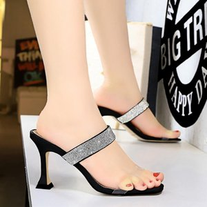 BIGTREE Sexy sandals with thick high heels transparent hollowed out open toe square head diamond goddess slippers women shoes