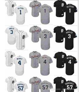 Özel Erkek Bayan Çocuk Detroit Tigers Jersey 1 JoseIg 4 Cameron Maybin 57 Francisco Rodriguez 3 Ian Kinsler Beyzbol Jersey hediye lesias