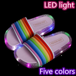 Baby LED Light Slippers Rainbow Jelly Luminous Slippers Kid Outdoor Indoor Homehold Shoes Wholesale Arrival Goods Quickly WY668