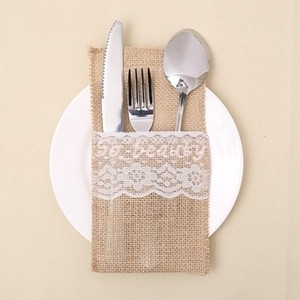 10Pcs Vintage Burlap Lace Tableware Holder Cutlery Pocket For Wedding Christmas Birthday Anniversary Party Decoration