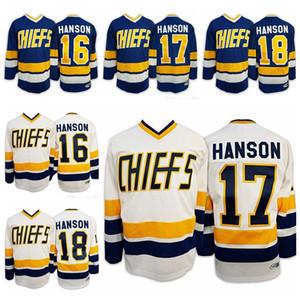 Verzending bij ons Hanson Brothers # 16 # 17 # 18 Charlestown Chiefs Slap Shot Movie Men Hockey Jersey Alle gestikte S-3XL Hoge kwaliteit