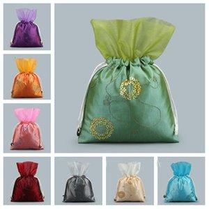 Nouveau sac de cordon de serrage fleur de fil chinois pailletée sac cadeau de mariage sac de collection de bijoux cadeau wrap T2C5018