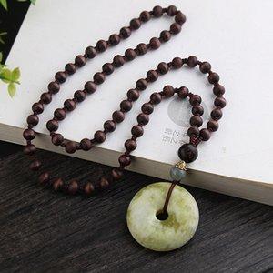Collier national style rétro à long perles en bois Pull Chain Boucle de sécurité naturelle Pendentif pour hommes et femmes
