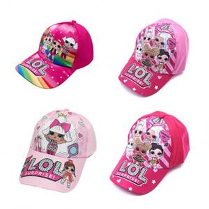 4color niños muñeca de la historieta de impresión Impresión de la gorra de béisbol para niños Niños historieta de las muchachas del sombrero de visera, tapa ajustable zx02