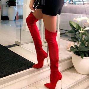 Rosso elegante tacco a spillo a punta le dita dei piedi Coscia tacco alto di oro Metal Blade alti sopra il ginocchio Stivali Stretch Lungo Inverno