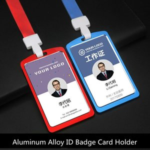 Metal exhibition id badge card holder work name pass card holder with lanyard for office school use