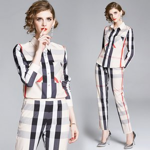 Boutique Womens Set Shirt+pant Long Sleeve Printed OL Spring Autumn Two Piece Set High-end Lady Blouse Pant Suit