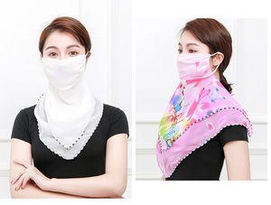여성 스카프 얼굴 (38 개) 스타일 실크 쉬폰 손수건 야외 마스크 방풍 반 얼굴 방진 양산 마스크 DHL 무료